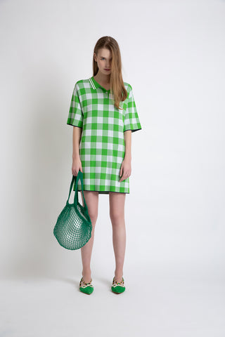0281921501 Green checked knit polo dress