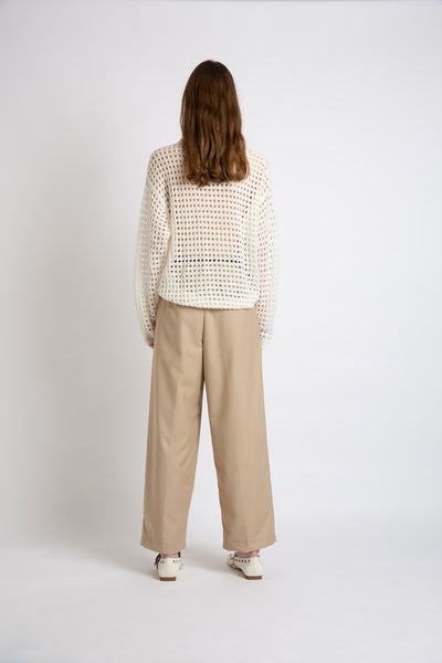 0281921201 Belted straight leg twill trousers