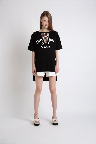 0281921601 Slogan T-shirt with mesh front