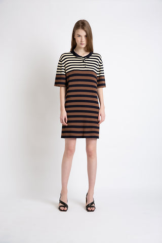 0281921504 Stripy knit polo dress