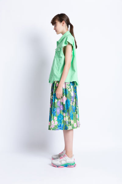 0281929101 Garden party floral pleated skirt