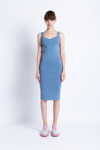 028192B704 Knitted V-neck midi dress