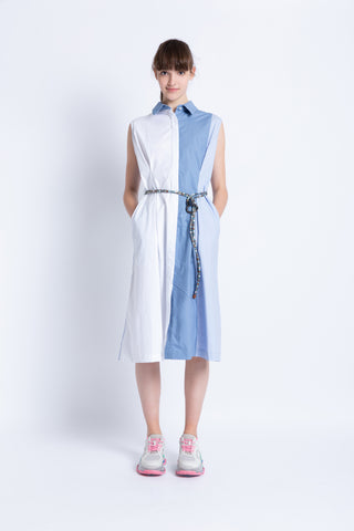 028192B702 Sleeveless shirt dress with textured belt