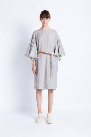 028192A702 Casual midi dress with draped sleeves