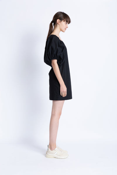 028192A701 Poplin dress with puffy sleeves