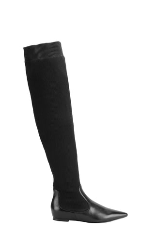 eq:iq ANSA Stretch-knit Leather Over-the-knee Boots