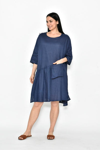 Navy Pocket Linen Dress