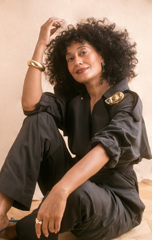Tracee Ellis Ross  green boiler suit White Space Jewelry Fierce Chick Friday