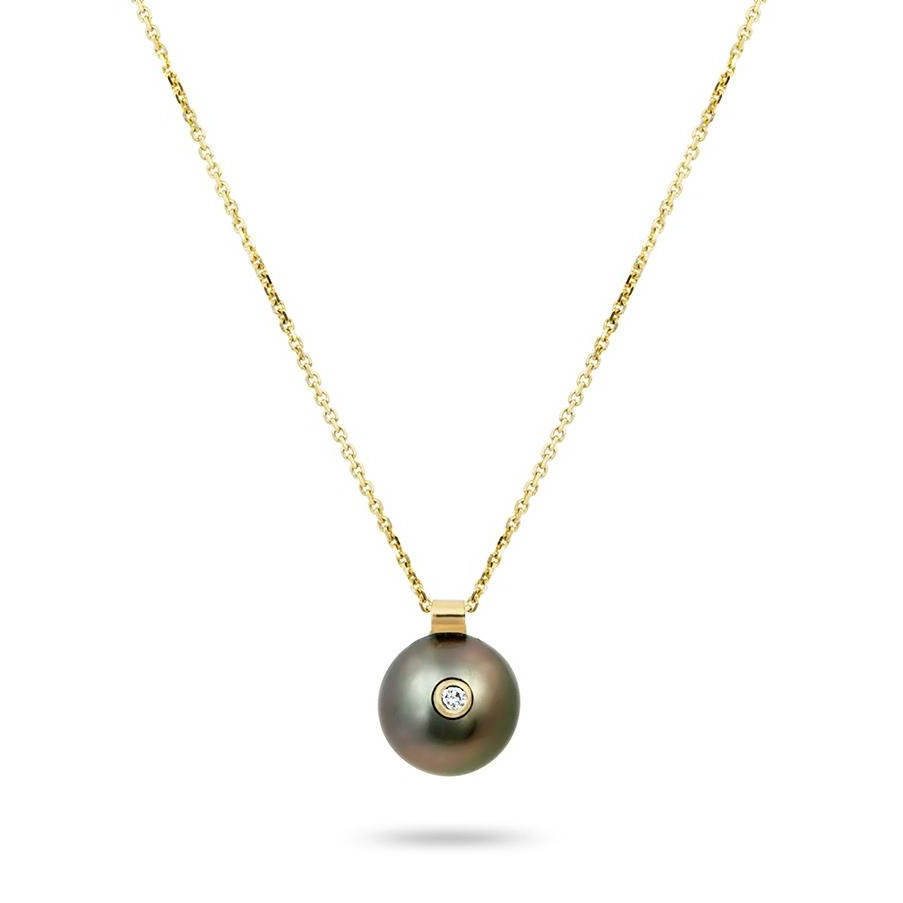 EVERLY NECKLACE, TAHITIAN BLACK PEARL