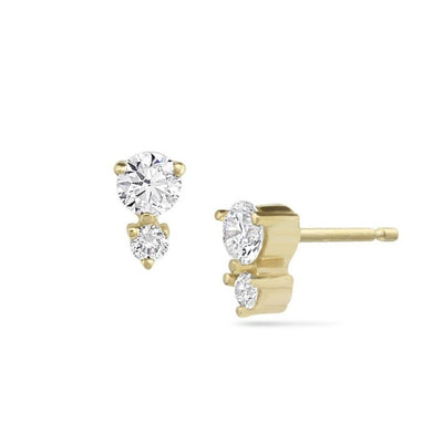 Double Diamond 14k gold Stud Earrings by White Space Jewelry