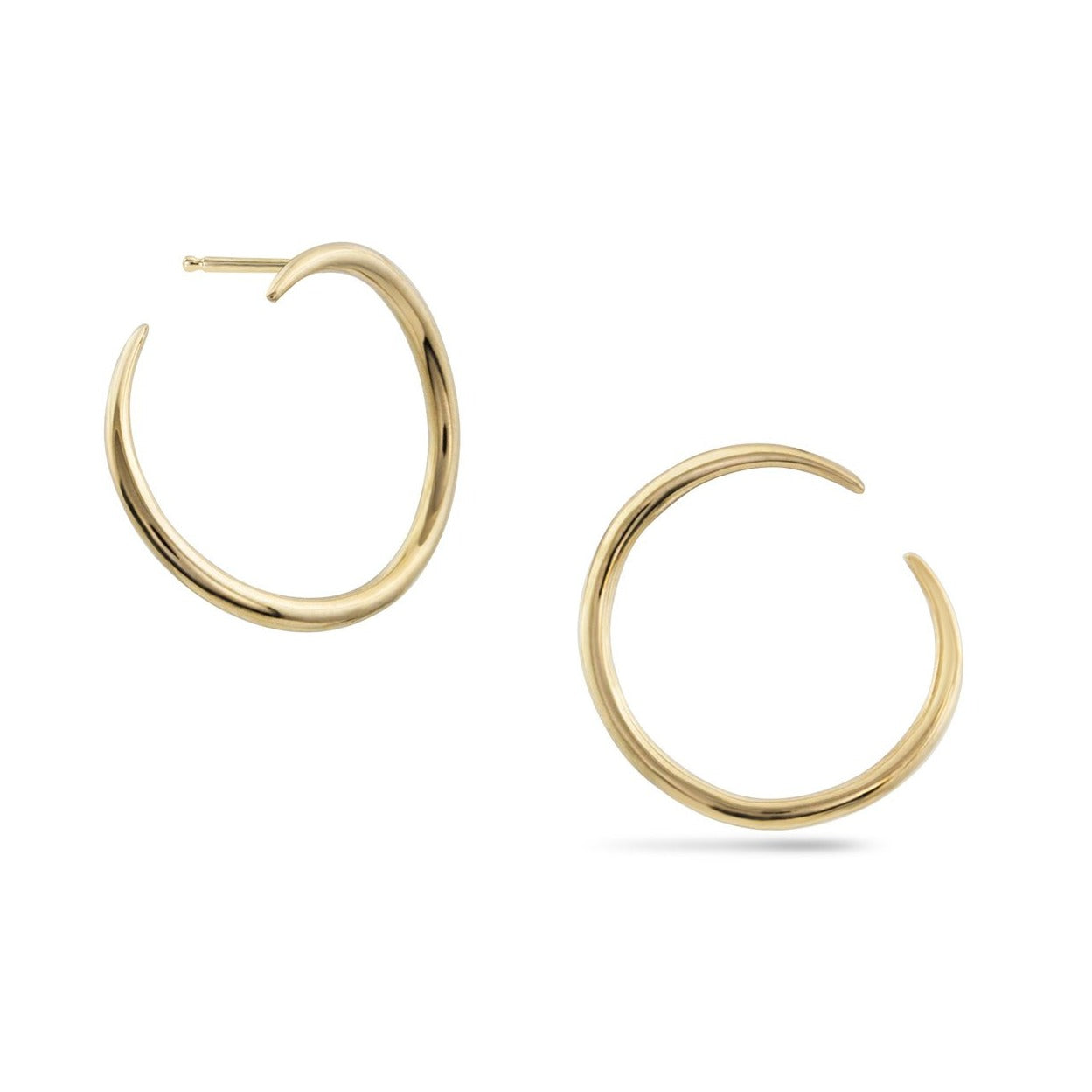 Solid 14k gold modern hoop earrings that wrap around earlobe.