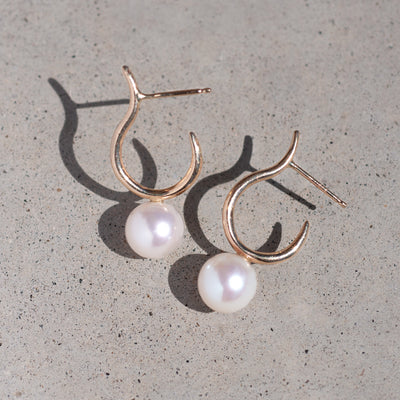 Pearl Moon Half-Hoops, White