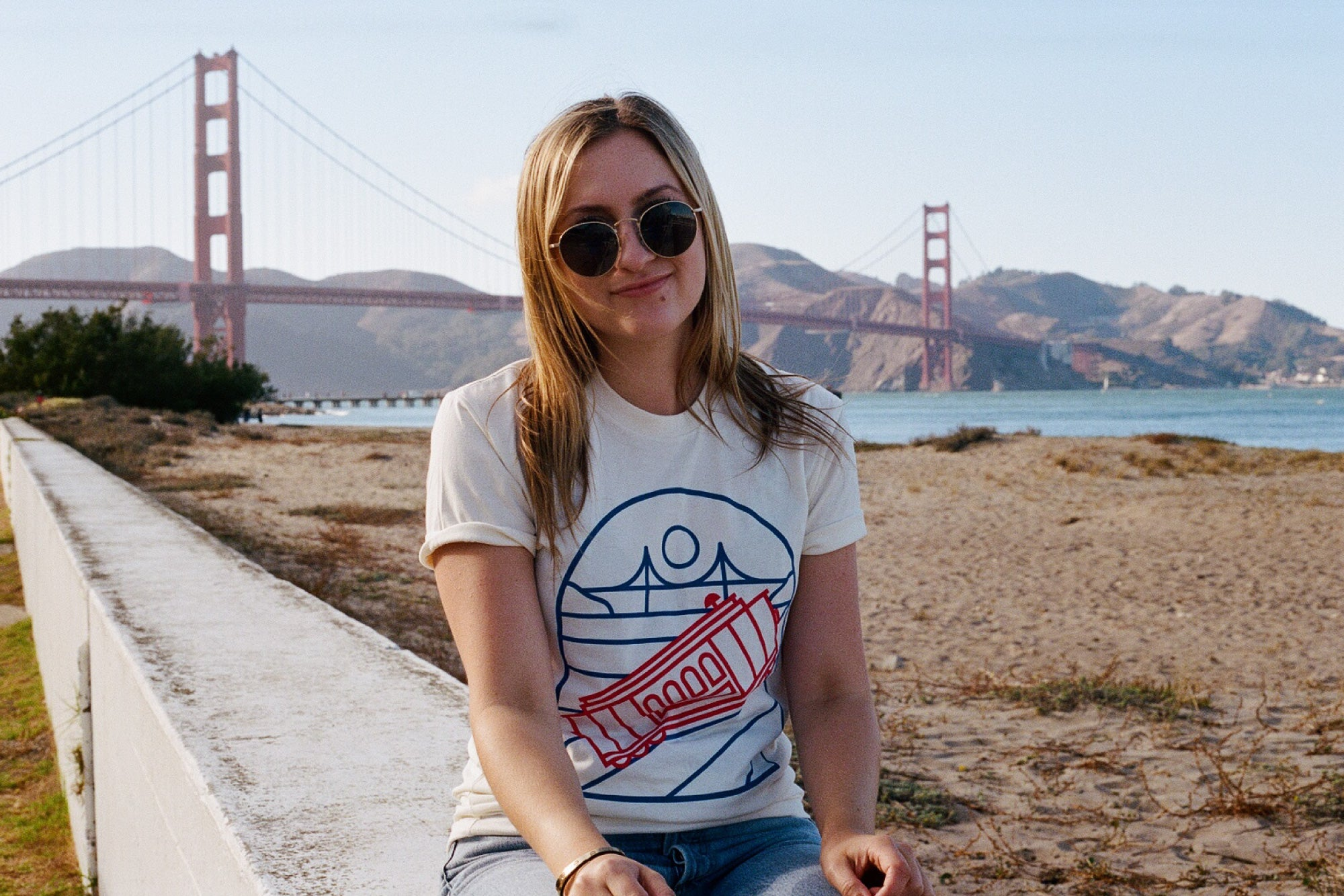 culk cable car t-shirt golden gate bridge