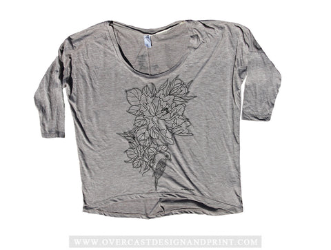 One Hundred for Haiti - Japanese Bird on Flower Raglan by Oscar Garcia