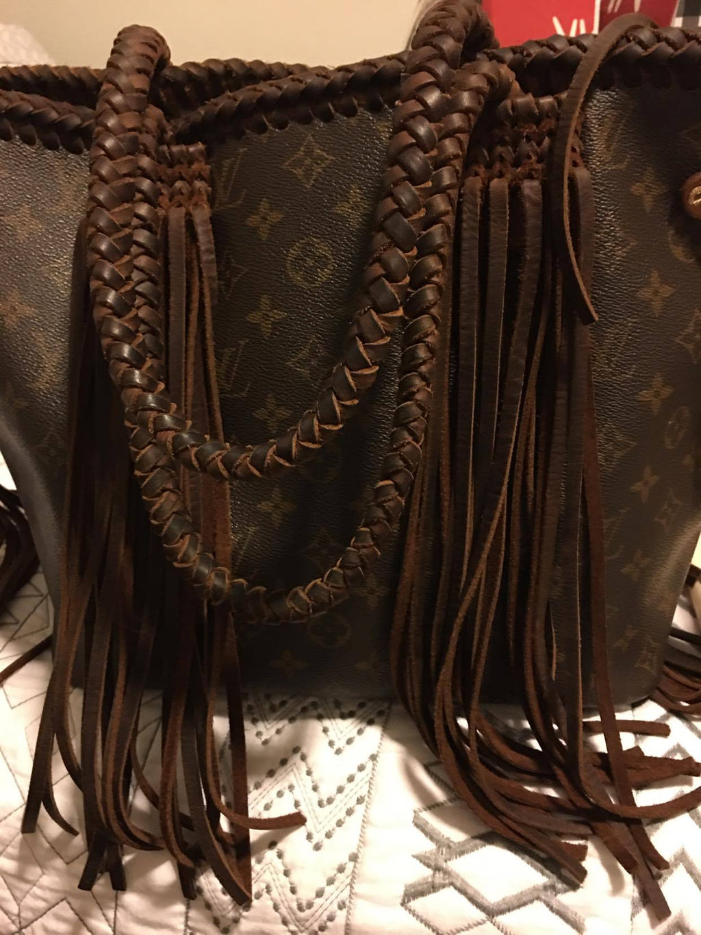 Custom Vintage Louis Vuitton Neverfull MM Monogram with Fringe & Braiding