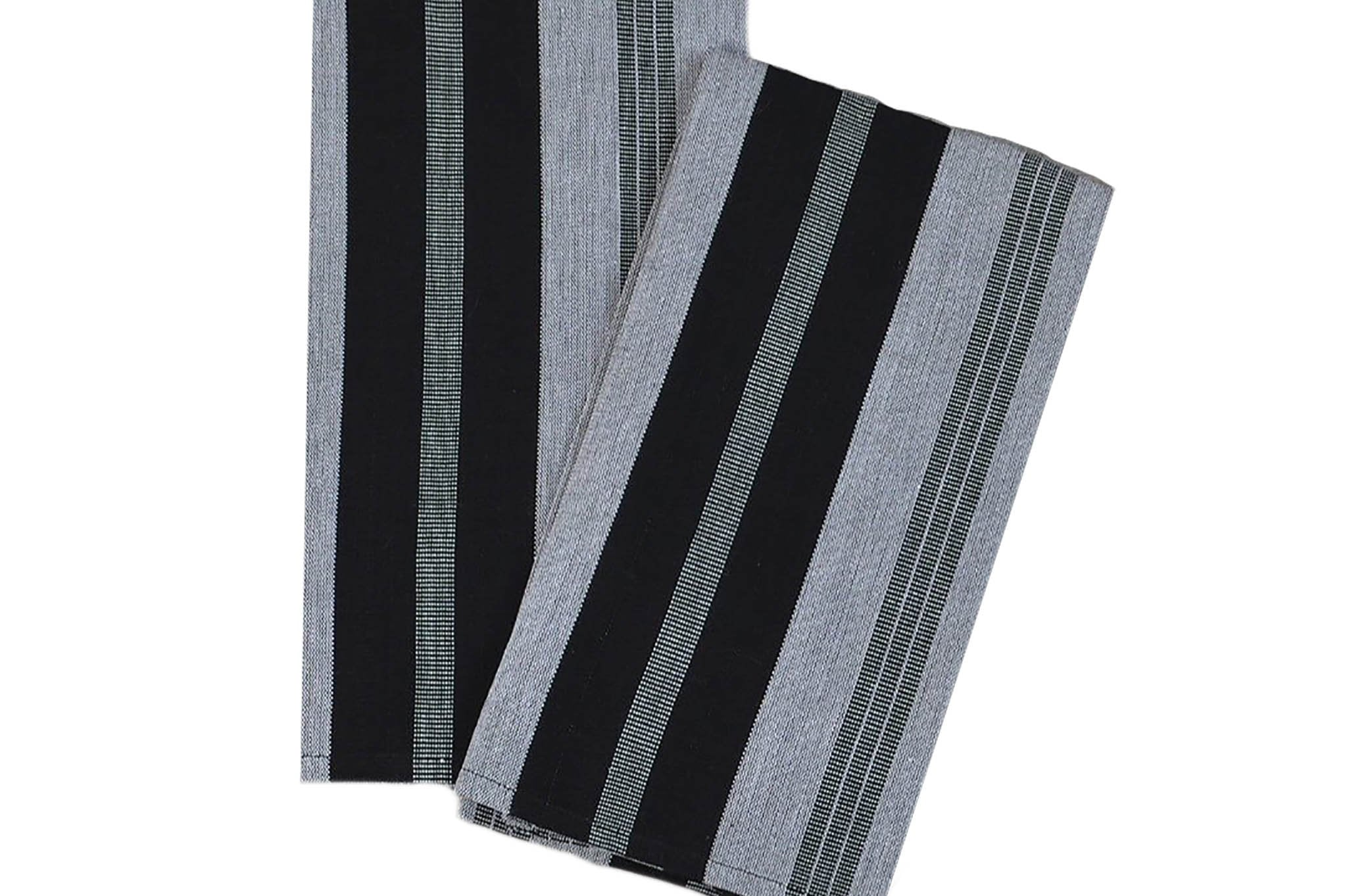 kitchen towels from guatemala: striped in black & gray