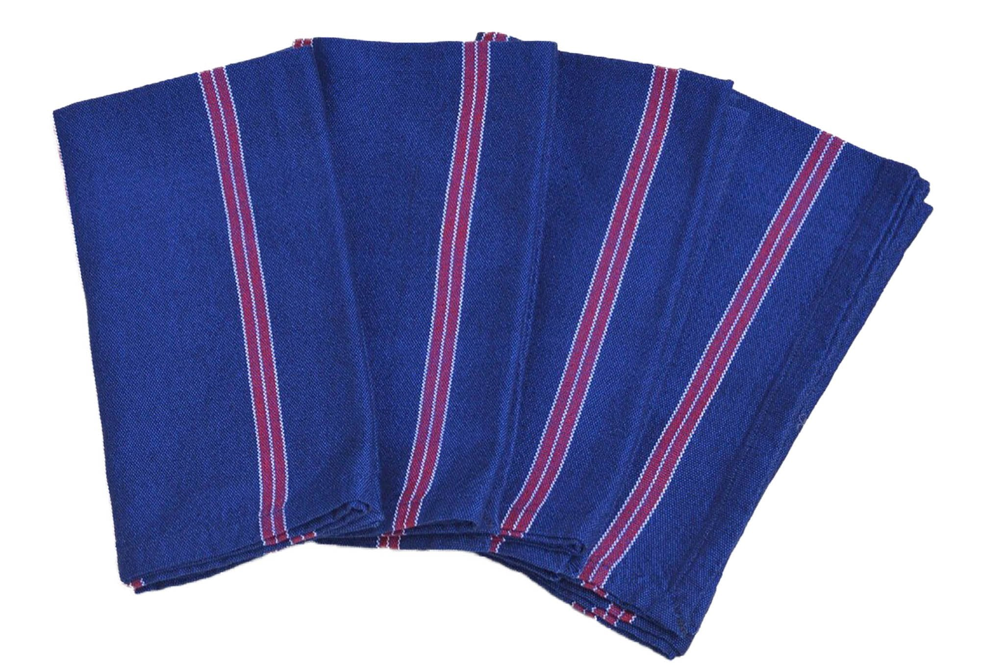 Table Napkin Sets From Guatemala Red White And Blues Striped