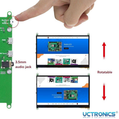 UCTRONICS 7 Inch Raspberry Pi Compatible 1024×600 Capacitive HDMI LCD Display IPS Touchscreen Monitor with Prop Stand