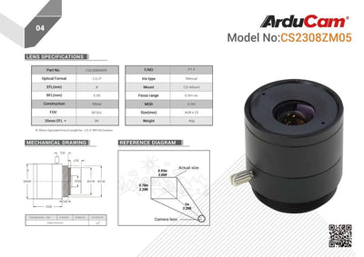 Arducam 8mm Focal Length with Manual Focus  CS-Mount Lens for Raspberry Pi HQ Camera