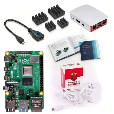 Raspberry Pi 4 Basic Starter Kit and Official Red/White Case
