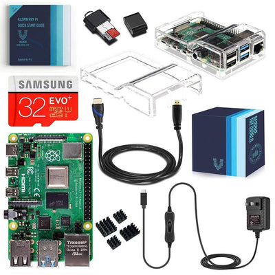 Raspberry Pi 4 Model B Complete Starter Kit with Dual Clear Transparent Case