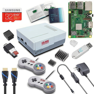 Vilros Raspberry Pi 3 Model B Plus Retro Arcade Gaming Kit with 2 Classic USB Gamepads [LATEST MODEL 2018]