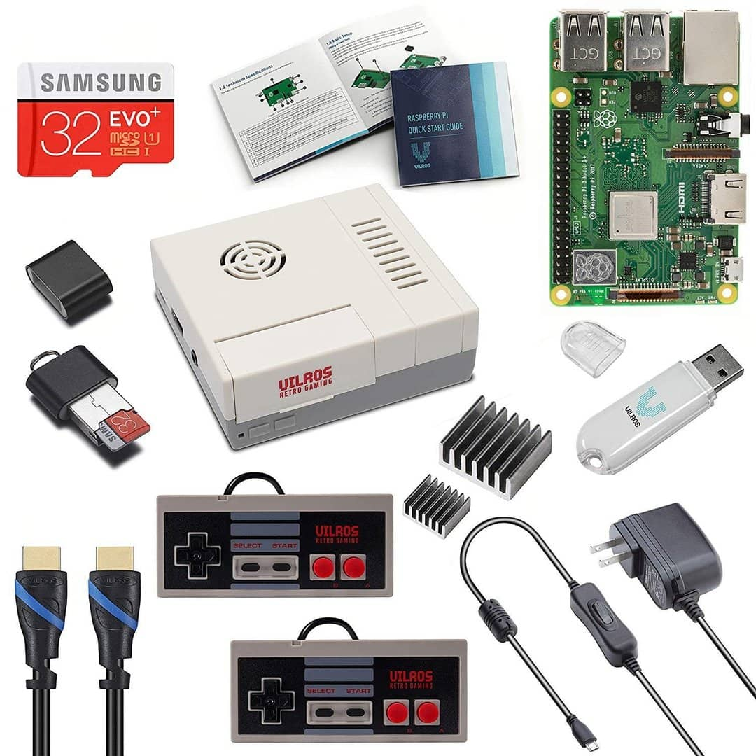 Vilros Raspberry Pi 3 Model B+ (B Plus) NES Style Retro Arcade Gaming Kit  with 2 NES Style Gamepads & NES Style Fan-Cooled Case