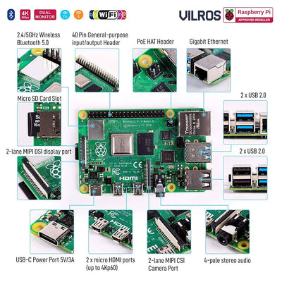 Vilros Raspberry PI 4 Model B Complete Desktop Kit with 15 inch Keyboard and Touchpad Combo