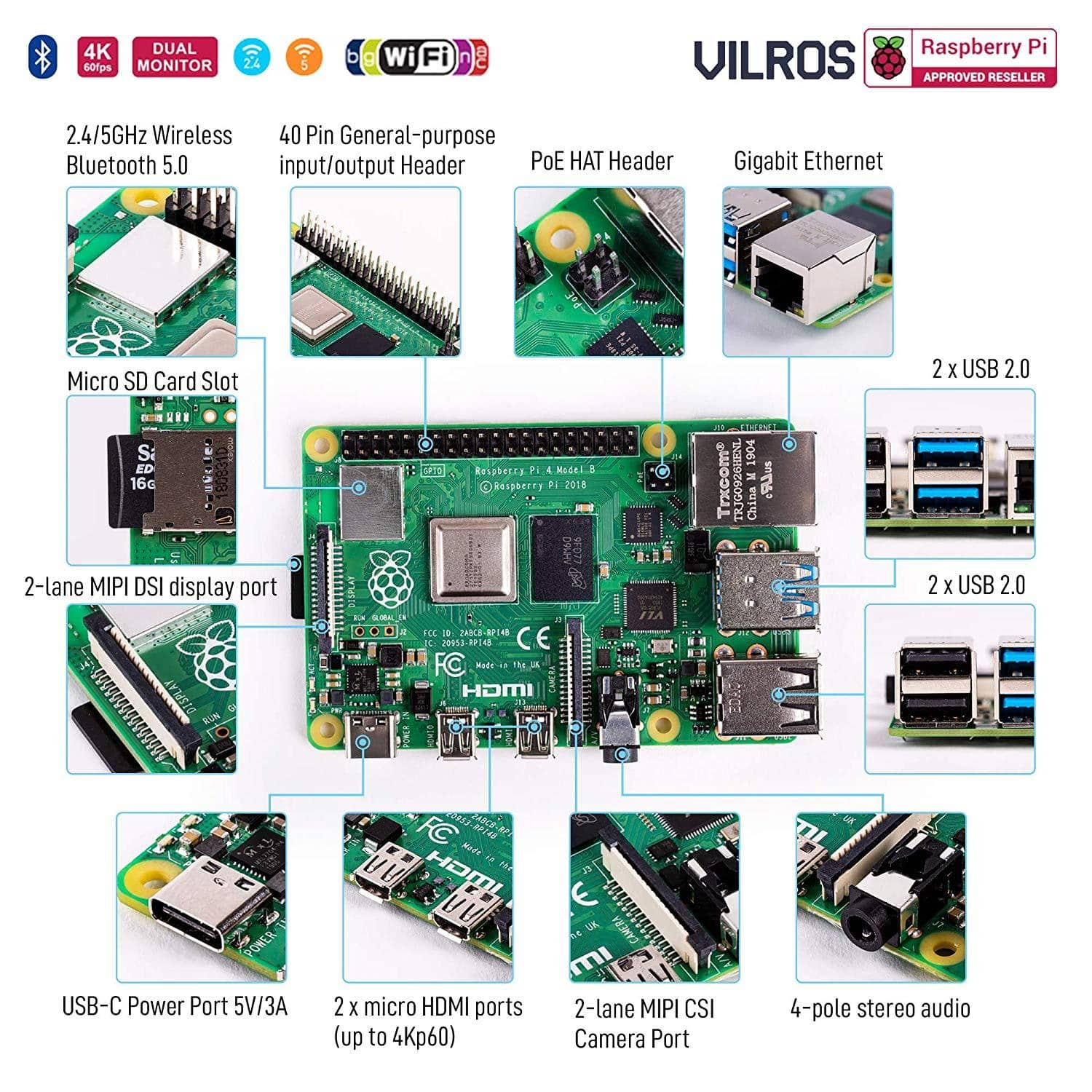/& Micro HDMI Adapter Heatsink Vilros Accessories Starter Pack for Raspberry Pi 4-Includes Fan Cooled Case-Power Supply Set of 4