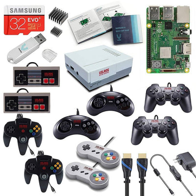Vilros Raspberry Pi 3 Model B Plus Retro Arcade Gaming Kit with Multi Retro Gaming Controller Set-Includes: 2 Each of NES, SNES, N64, PS2 & GENESIS Controllers - Vilros.com