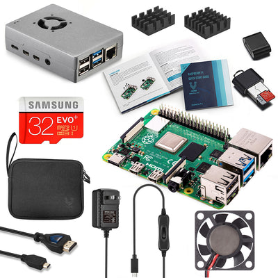 Raspberry Pi 4 Complete Starter Kit with Fan-Cooled Heavy-Duty Aluminum Alloy Case
