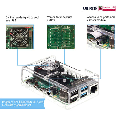 Vilros Raspberry Pi 4 Compatible Case with Built in Fan