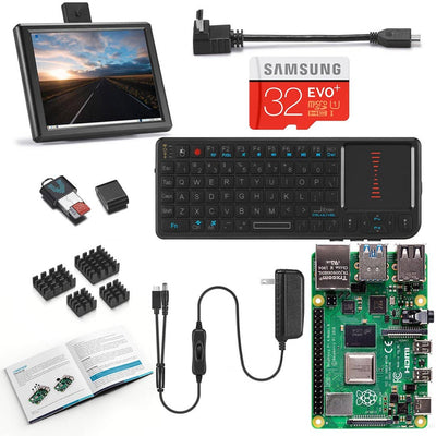 Raspberry Pi 4 Desktop with 8 Inch Screen and Mini Keyboard/Touchpad Combo
