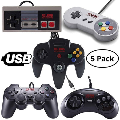Vilros Retro Gaming USB Classic Controller Set of 5