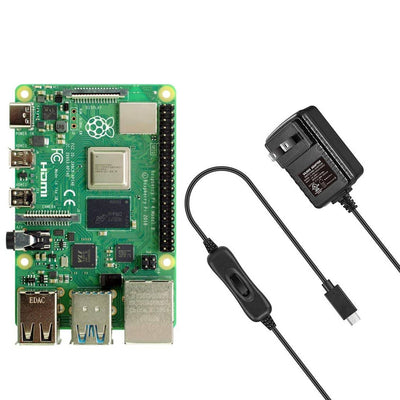 Raspberry Pi 4 Model B With Vilros USB-C Power Supply With Switch [3 Amp]