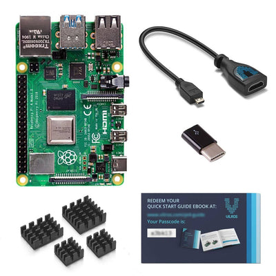 Raspberry Pi 4 Model B with HDMI Female to Micro HDMI Male Adapter-USB-USB-C Adapter-Heatsink