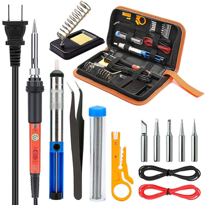 Vilros Soldering Iron Kit Electronics, 14-in-1 60w Adjustable Temperature Soldering Iron, 5pcs Soldering Iron Tips, Desoldering Pump, Tweezers, Stand, Solder, PU Carry Bag