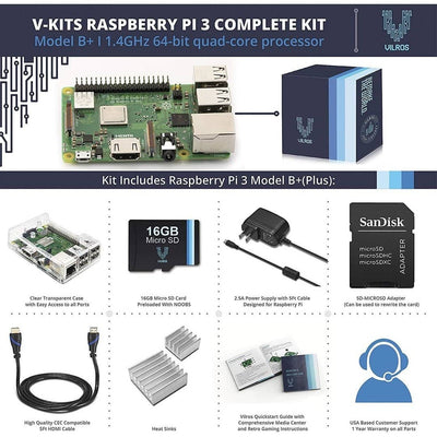 Raspberry Pi 3 B Plus Complete Kit Clear Dual Cover Case