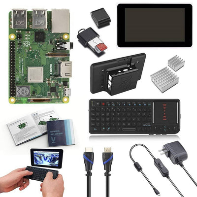 "Vilros Raspberry Pi 3 Model B+ (Plus) Complete Starter Kit with 7"" LCD Touchscreen Monitor & Mini Keyboard with Touchpad Combo"