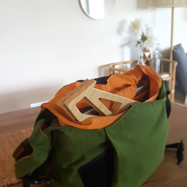 Cactusrack bamboo laptop stand in bag