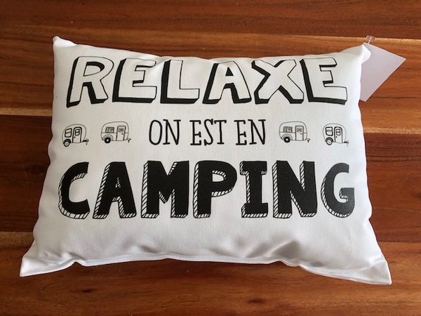 Coussin Relaxe on est en camping