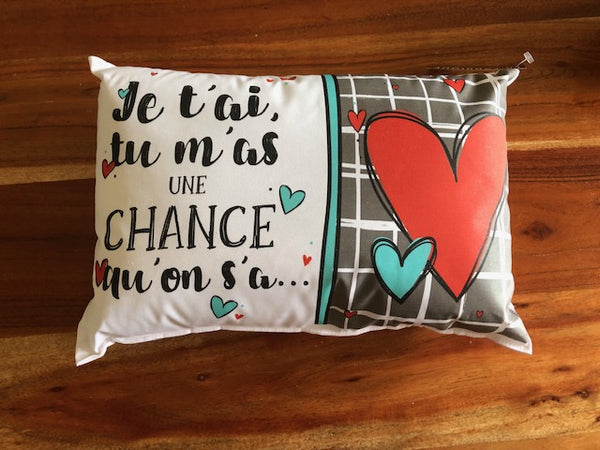 Coussin Une chance qu'on s'a