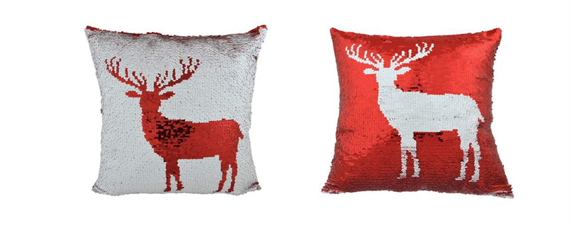 Coussin Chevreuil Rouge/Blanc
