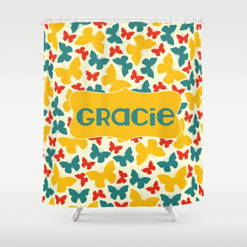 Bright Butterfies Personalized Shower Curtain