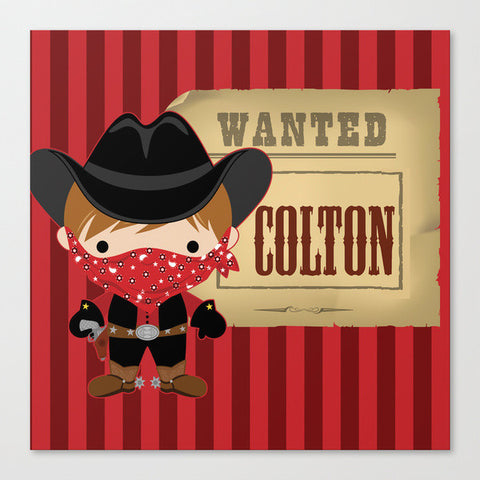 Wanted Cowboy Kids Wall Art