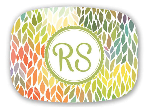 Colorful Leaves Monogram Platter