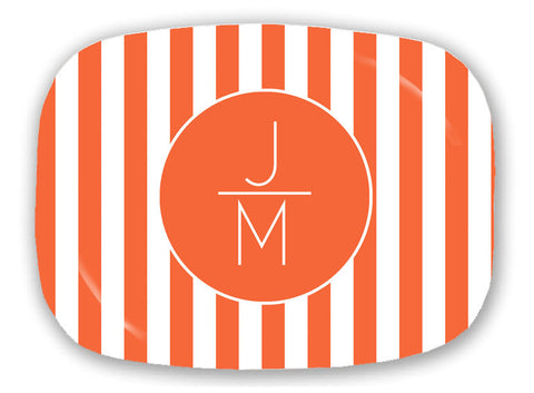 Orange Stripe Monogram Platter