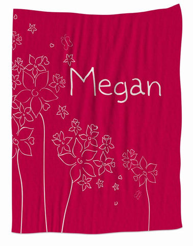 Hot Pink Flower Fleece Blanket