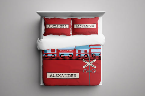 All Aboard Train Set Bedding