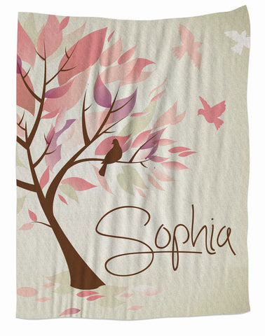 Water Color Tree Personalized Blanket